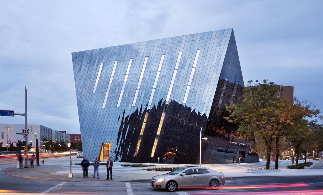 In 2012 the Museum of Contemporary Art Cleveland opened their new permanent location, designed by architect Farshid Moussavi, on the corner of Mayfield Road and Euclid Avenue.